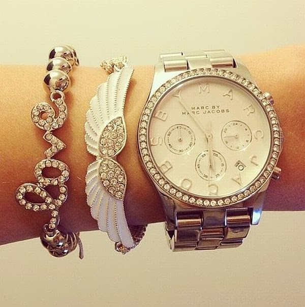 whrist accessories: love and wings bracelet, Marc Jacobs watch