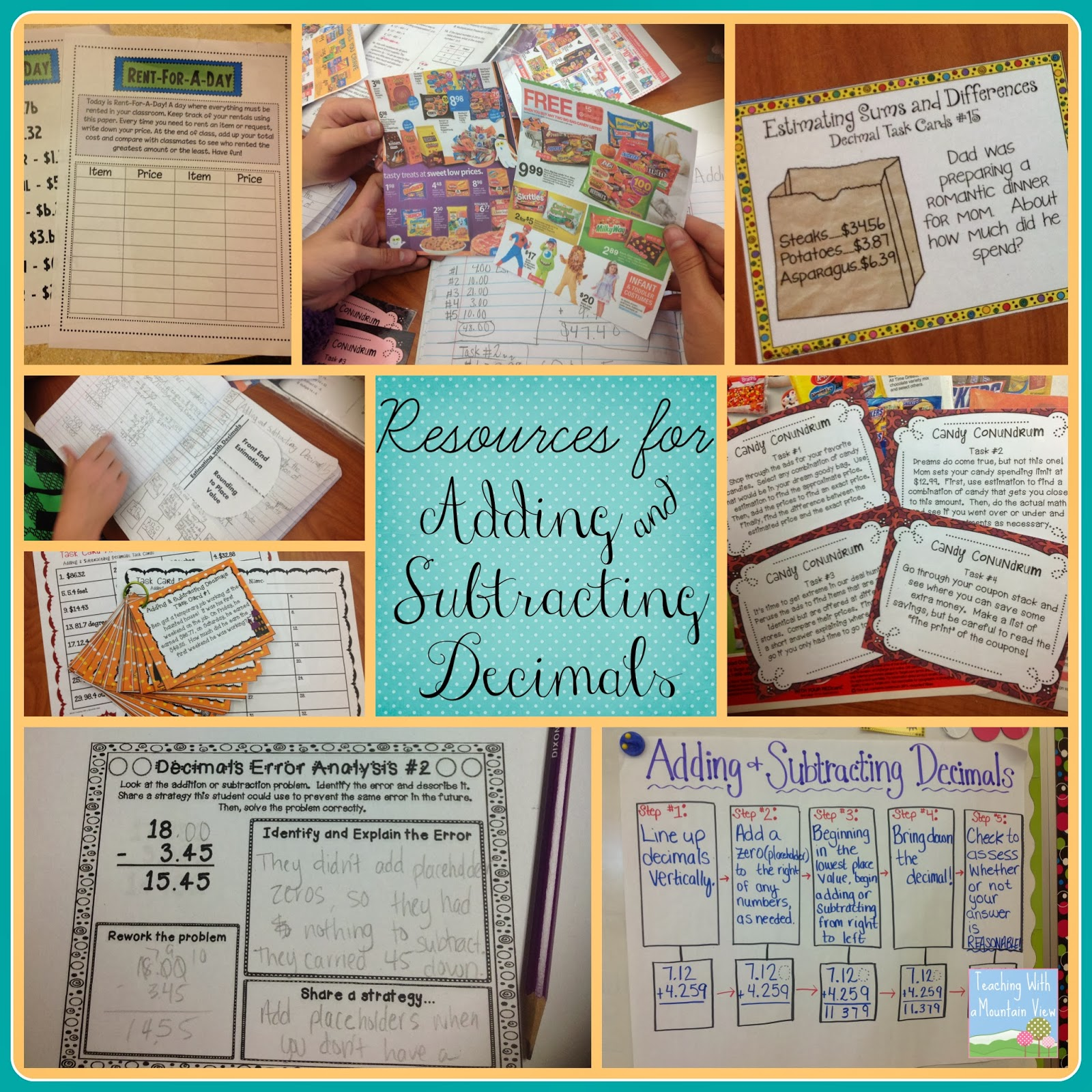 teaching with a mountain view adding and subtracting decimals  adding and subtracting decimals activities  freebies