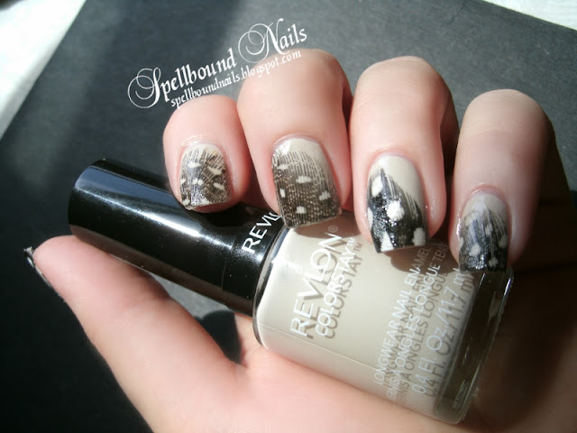 Birds of a Feather nails nail art nailart mani manicure Spellbound feathers neutral beige spots dots