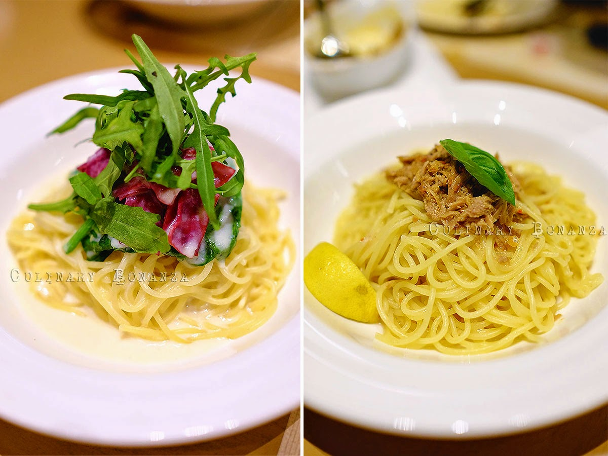 Left: Cream & Carbonara Pasta with Smoked Beef, Spinach & Ruola IDR 50,000 Right: Aglio Olio with Tuna Pasta IDR 48,000