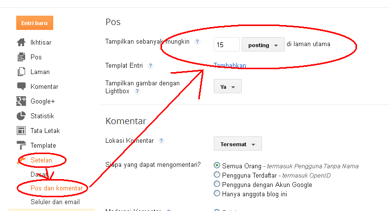 Membatasi jumlah post pada halaman depan melalui menu setting