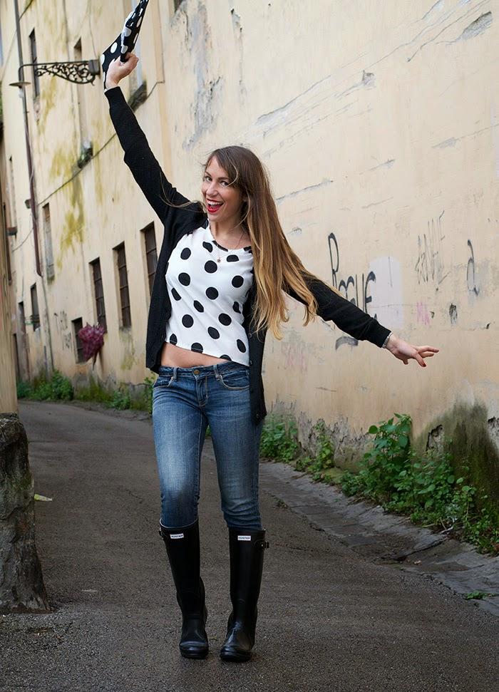 jeans + stivali da pioggia