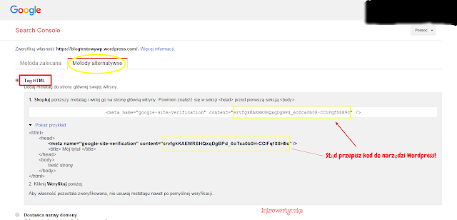 Google Webmaster Tools - Tag HTML