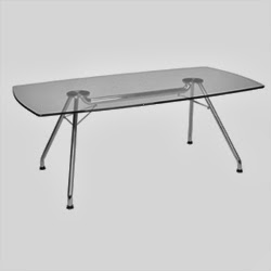 OFM Glass Conference Table with Metal Legs