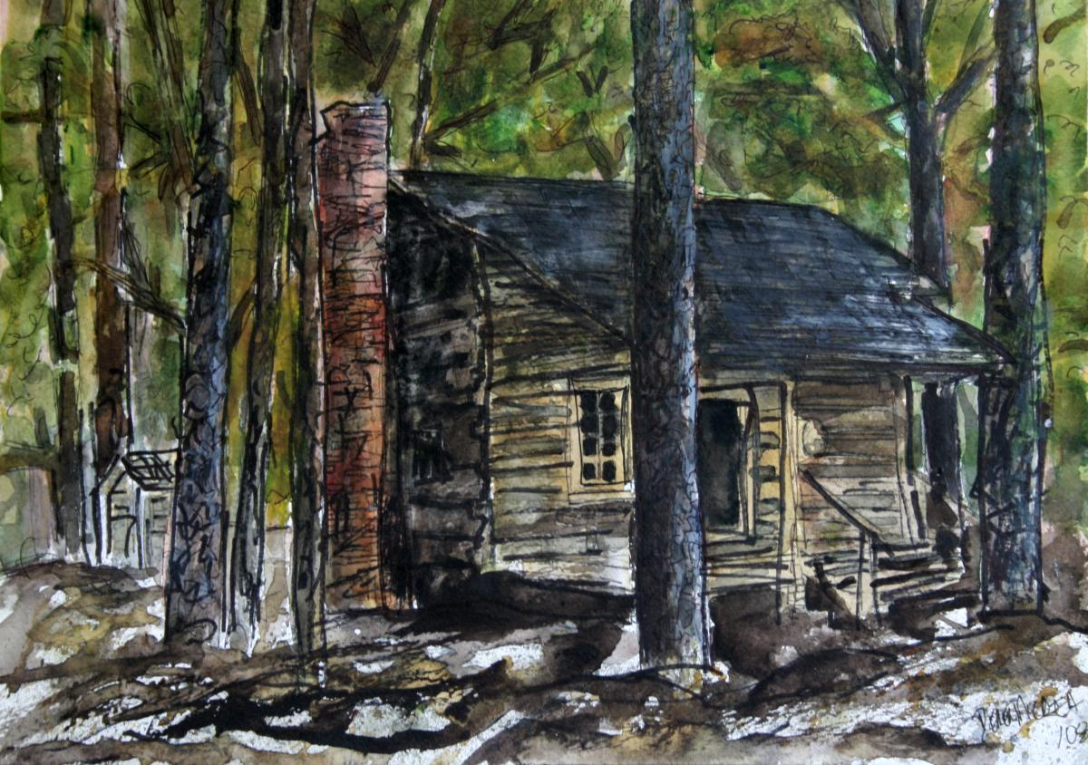 Watercolor paintings art by derek mccrea callaway for Log cabin painting