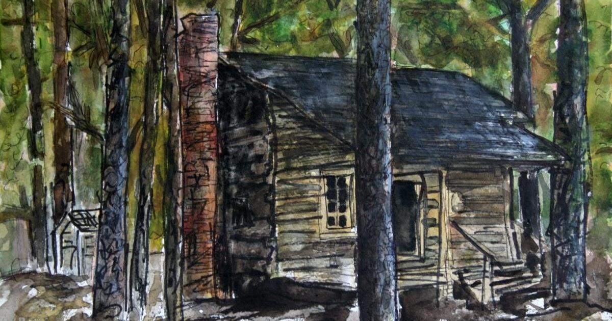 Watercolor paintings art by derek mccrea callaway gardens log cabin barn painting for Callaway gardens cabin rentals