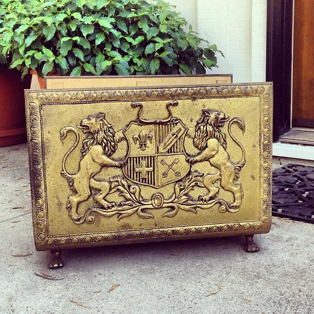 vintage brass crested wood holder