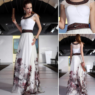 Print Scoop Floor Length Dress