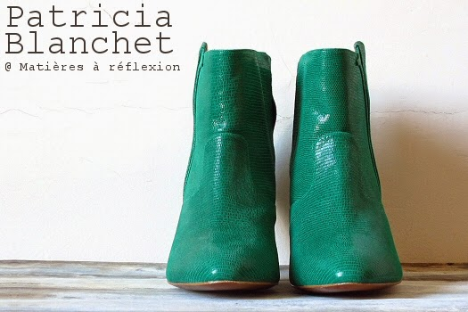 Patricia Blanchet chaussures cuir vert bottines Reno boots