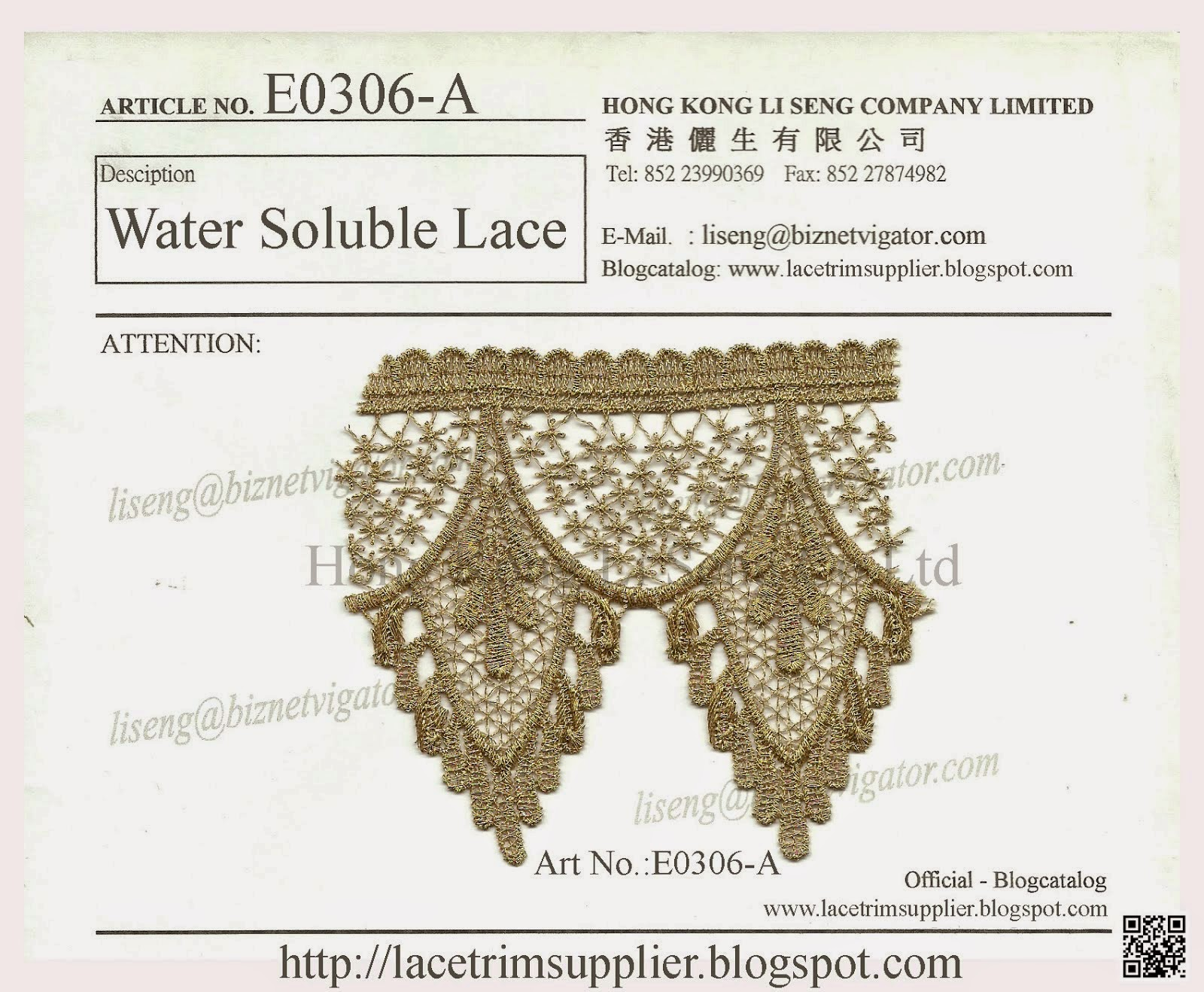 Golden Lurex Water Soluble Lace Manufacturer