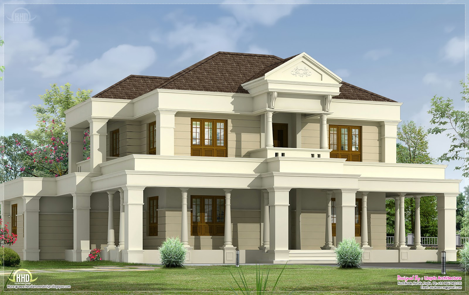 5 bedroom luxurious villa exterior design home kerala plans for Villa style homes