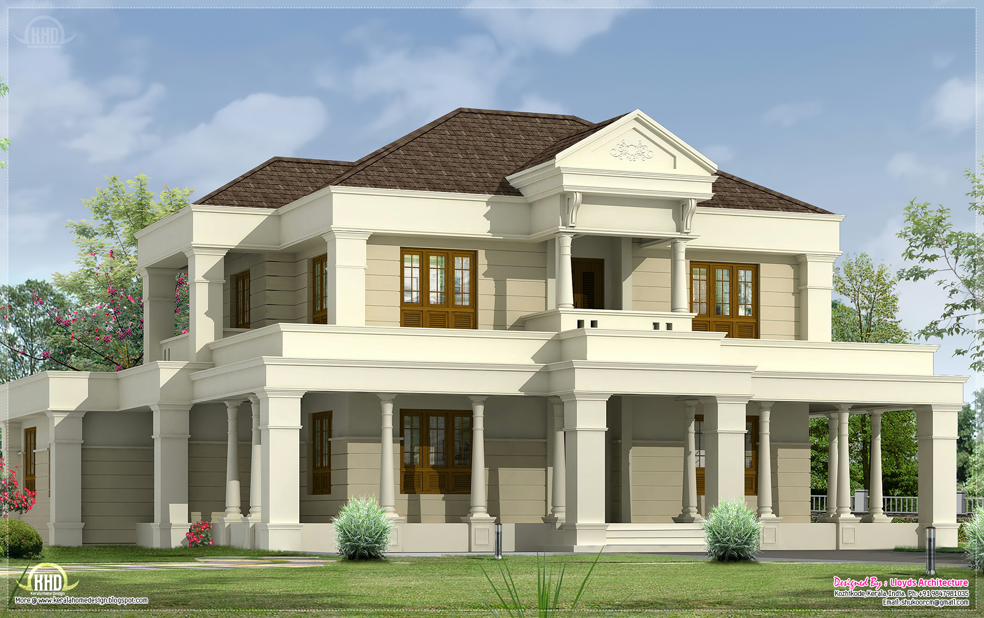 5 bedroom luxurious villa exterior design kerala home for Villa plans in kerala