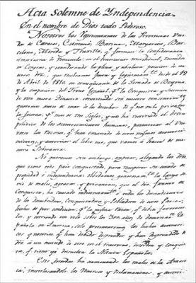 Documento declaración de Independencia de Venezuela