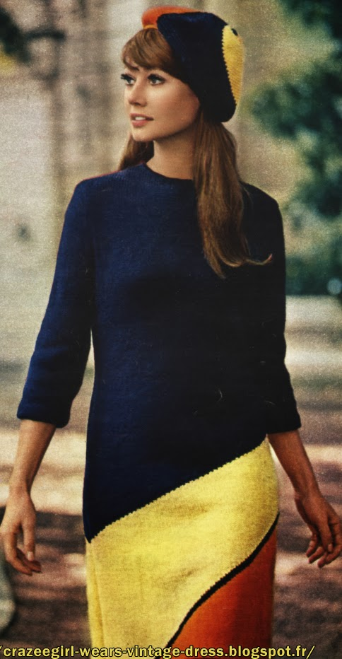 Striped knit dress  pattern - 1967 60s 1960s 1960 années 60 mod yeye twiggy navy blue yellow orange red beret hat