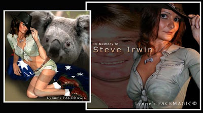 Melbourne body painting design to honour Steve Irwin and. Shirt, shorts, belt and necklace are painted to appear 3D