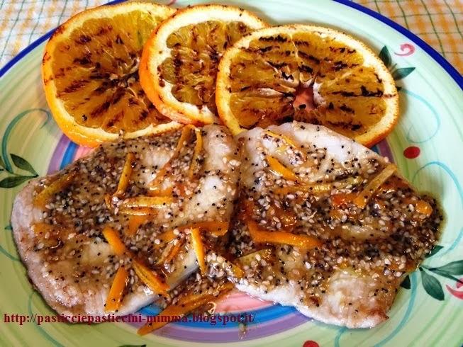 fettine di lonza di maiale con arance grigliate