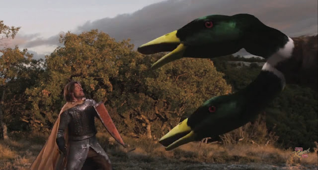 Jaime Lannister (Nicolaj Coster-Waldau) se enfrenta a un pato de dos cabezas que escupe fuego en el show de Jimmy Kimmel - Juego de Tronos en los siete reinos