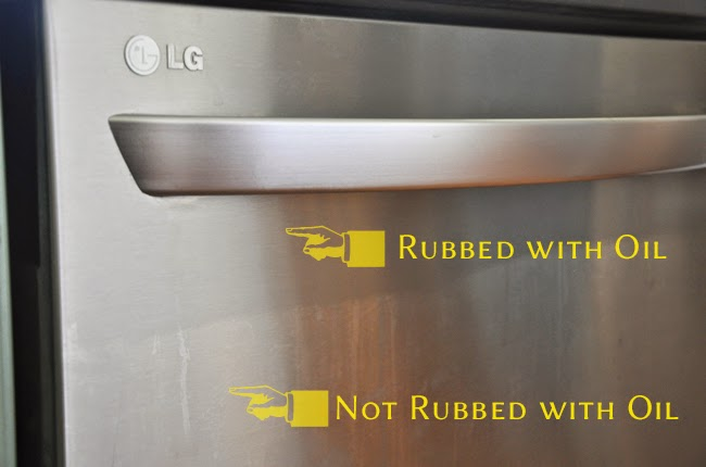 Image Of A Dishwasher With Olive Oil Applied As A Natural Cleaner For Stainless  Steel.