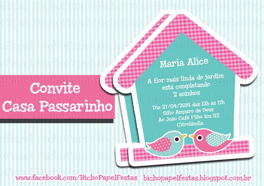 Arte Convite Casa Passarinhos