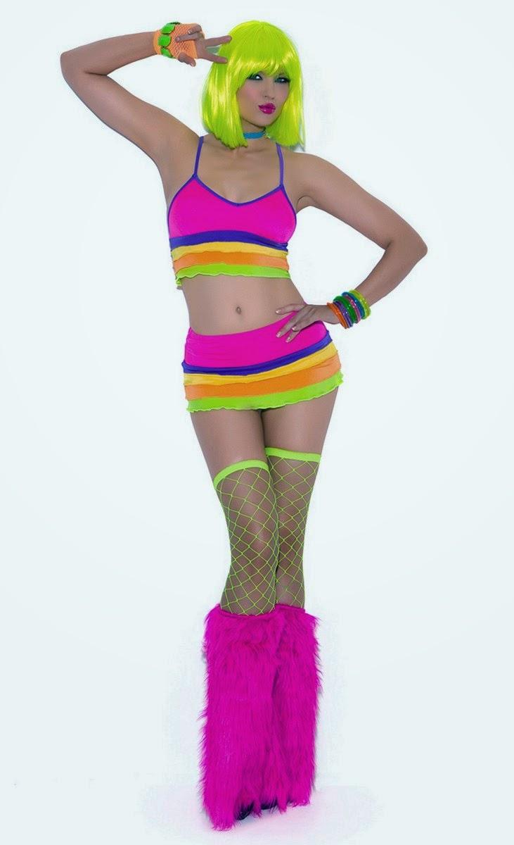 Neon Nites Lycra Bra Top With Mini Skirt