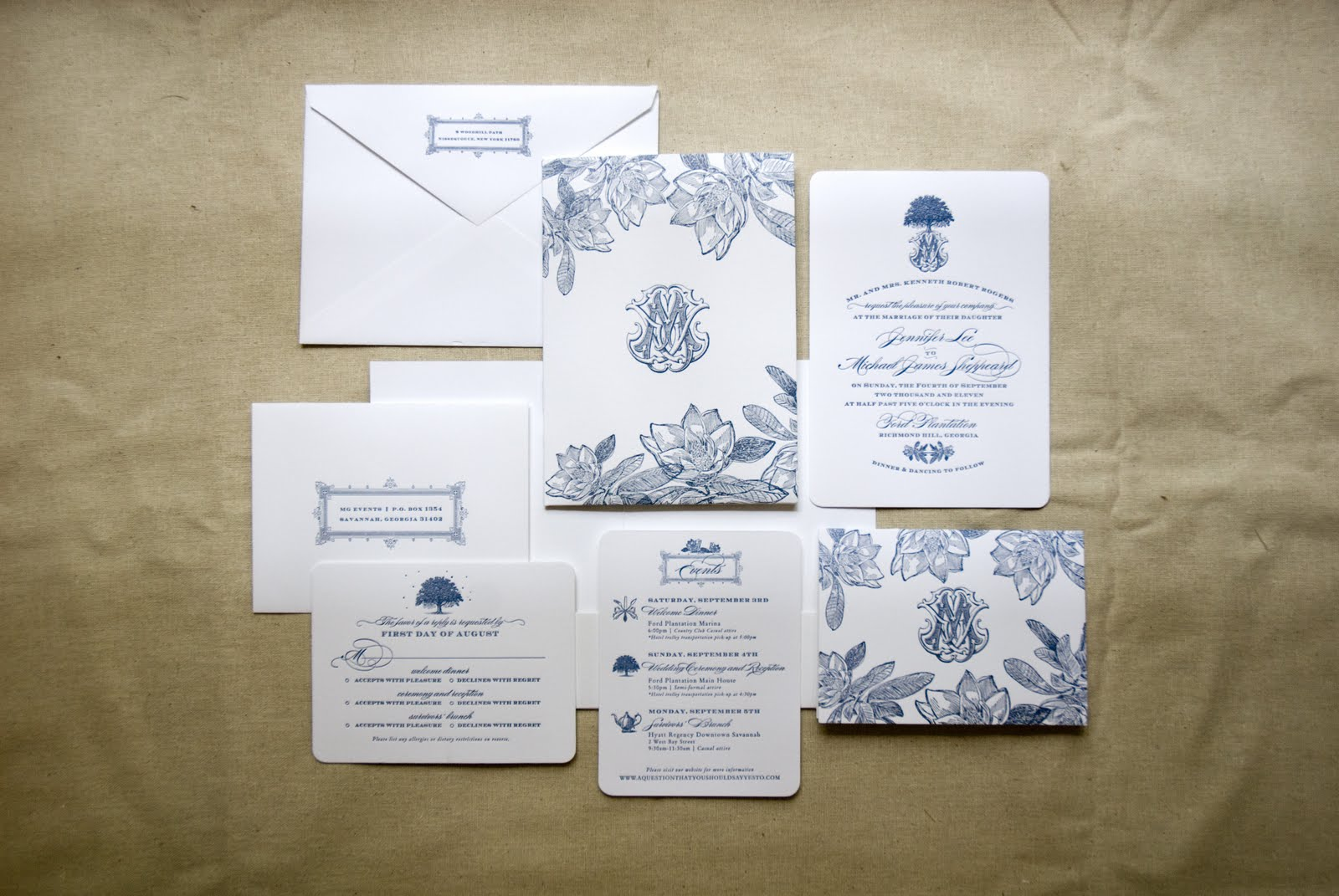 Magnolia Wedding Invitations with Monogram (Savannah, Georgia, Ford ...