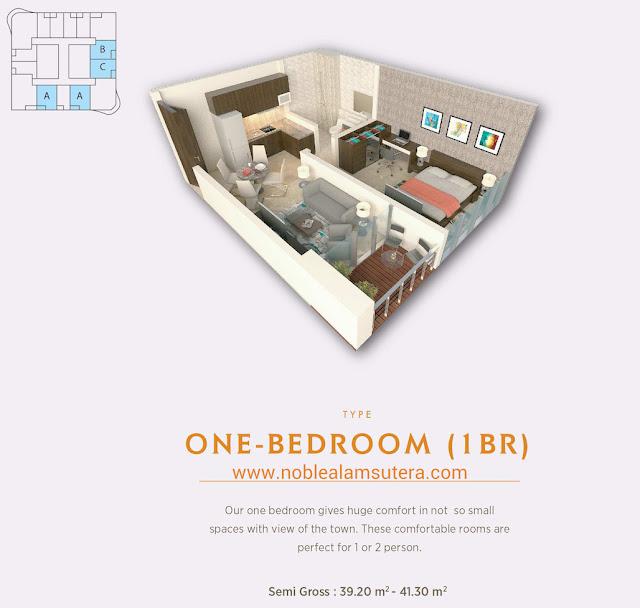 Tipe 1 BR Apartemen The Noble Alam Sutera