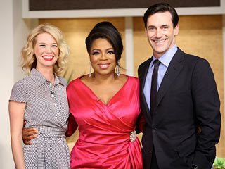 Oprah Winfrey with Jon Hamm and January Jones of Mad Men in a vintage dress and retro hair and makeup via Lexi DeRock of Voluptuous Vintage Vixen