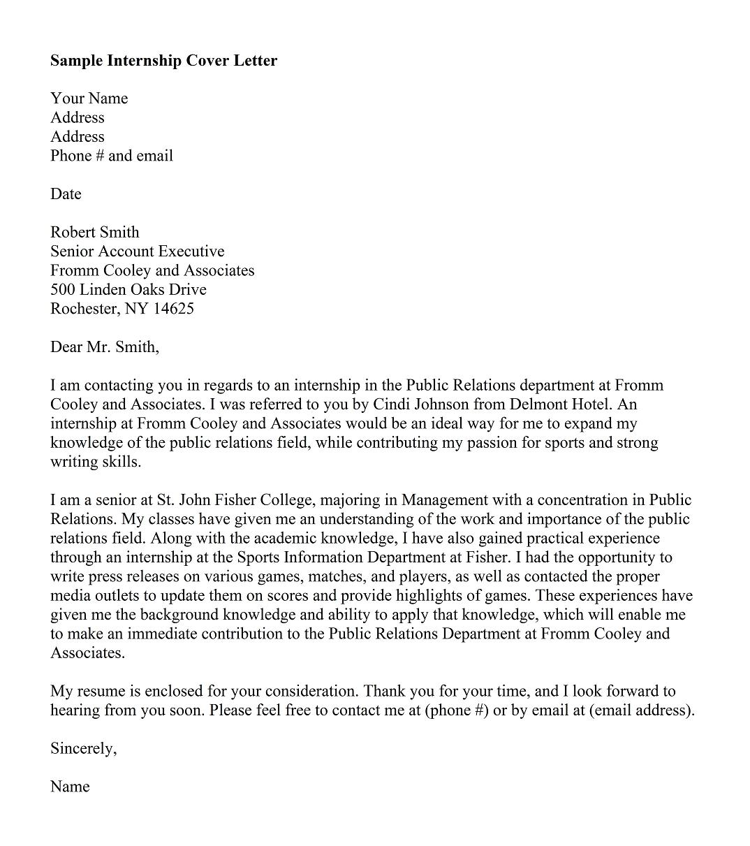 law firm internship cover letter sample
