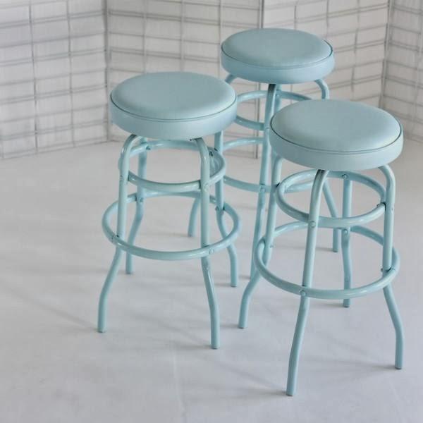 taburetes retro vintage de acero azul lacados