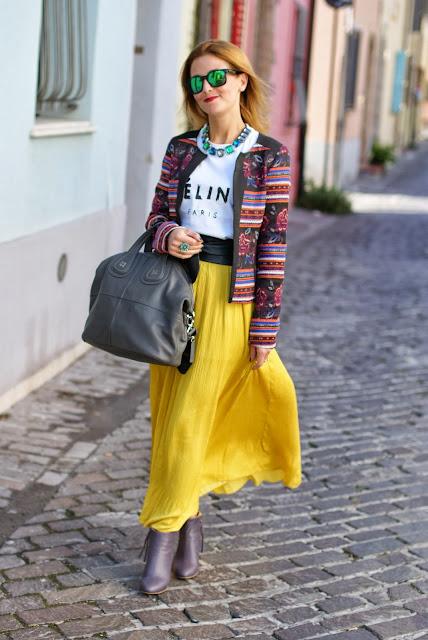 maxi skirt, Promod jacket, Urban Gypsy look, Fashion and Cookies, fashion blogger