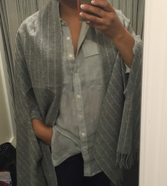 wool stripe scarf and gray shirt