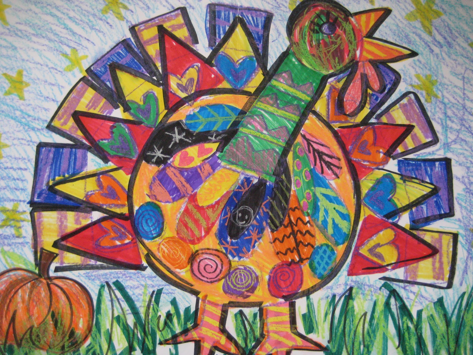 Art Lessons : Pink and green mama fall art project turkeys with