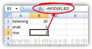Gambar: Contoh pemakaian fungsi MOD()  di excel
