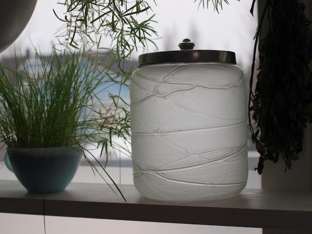vintage glass biscuit barrel ice bucket