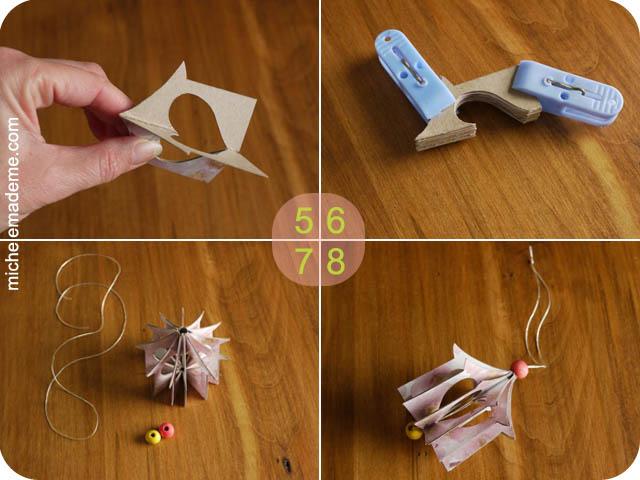 Домики-подвески из открыток Paper+Hanging+Heart+House+Ornament+steps+5-8