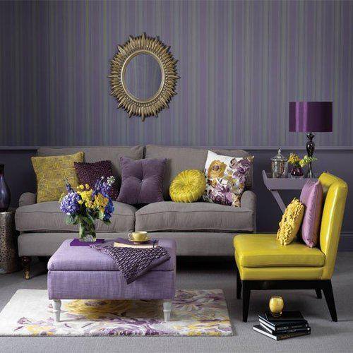 Home quotes theme design purple and gold color combination for Purple and grey living room ideas