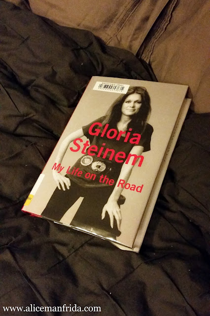 Blogmas, Gloria Steinem, My Life On The Road, book, bed, reading, black and white