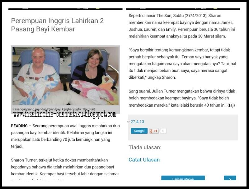 Kisah Terkini Lahirnya 2 Pasang Bayi Kembar ( 4 Orang )