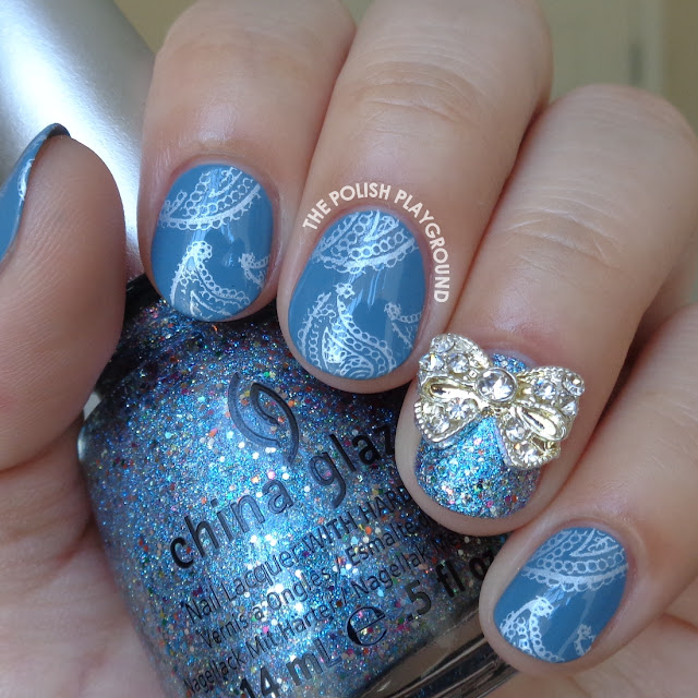 Blue and Silver Paisley Print Stamping Nail Art
