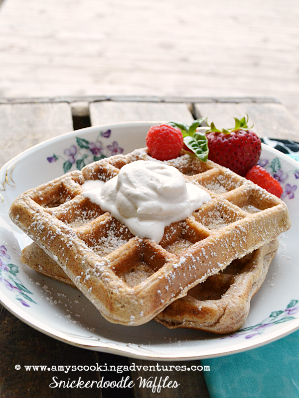 Featured Recipe | Snickerdoodle Waffles from Amy's Cooking Adventures #SecretRecipeClub #recipe #breakfast #waffles