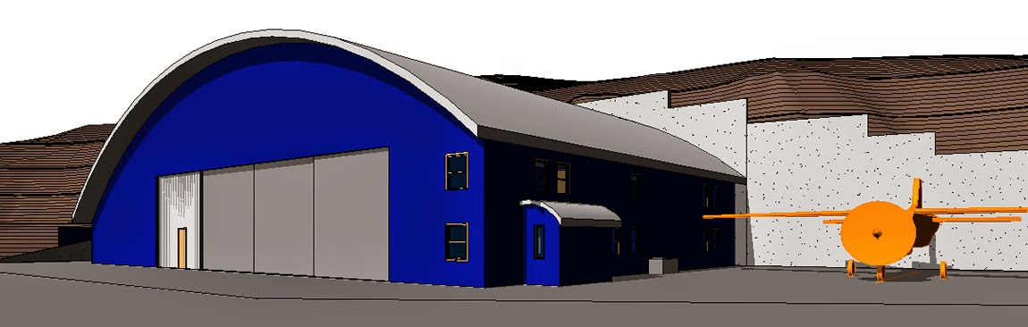 Megan Endreson's rendering of an airplane hangar.