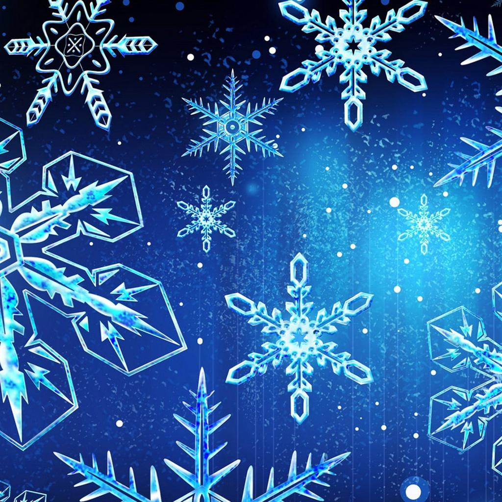 Free wallpapers for apple ipad blue snowflakes