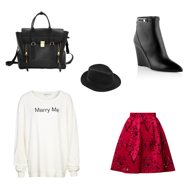 Wedge heel ankle boot Clodi Hugo Boss, Rossford hat, Zalando Collection Regina Pleated skirt, Wildfox Marry me sweatshirt, Phillip Lim Pashli leather satchel, marry me sweater