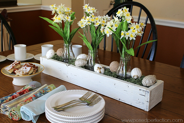 This sweet Rustic Springtime Centerpiece is the perfect decoration for a casual get together with friends.