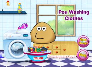 O Pou lava a roupa