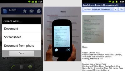New Google Docs app for Android adds optical character recognition (OCR) feature
