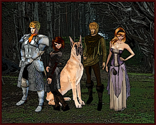 A group of characters, a male paladin with an orange ascot, a female investigator with short brown hair and glasses, a great dane, a male hunter in a green shirt and a female red haired oracle in a purple gown