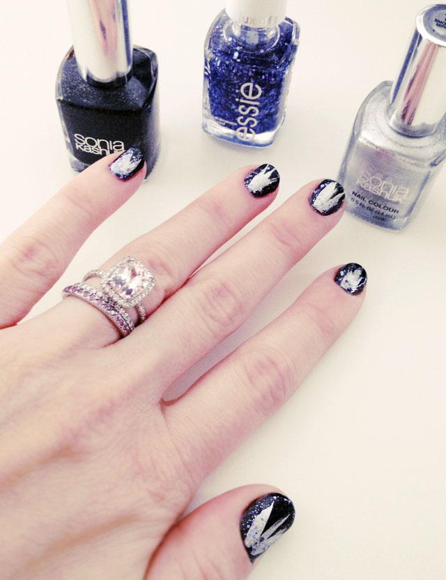NYE Nails, black silver blue glitter manicure