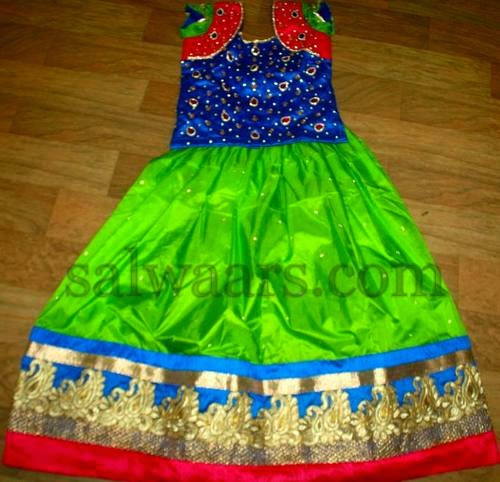 Green and Blue Kids Sparkling Skirt