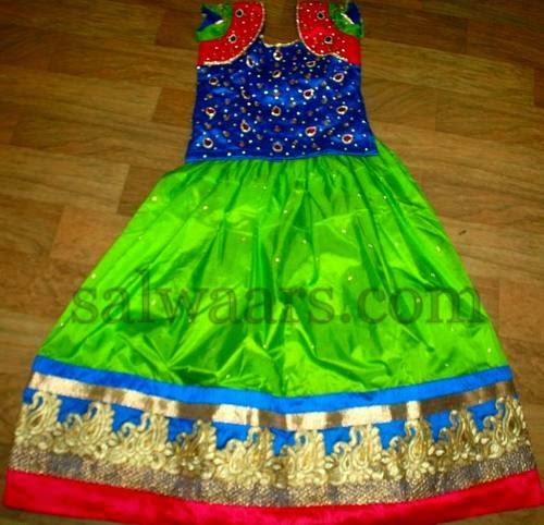 Green and Blue Kids Sparkling Skirt